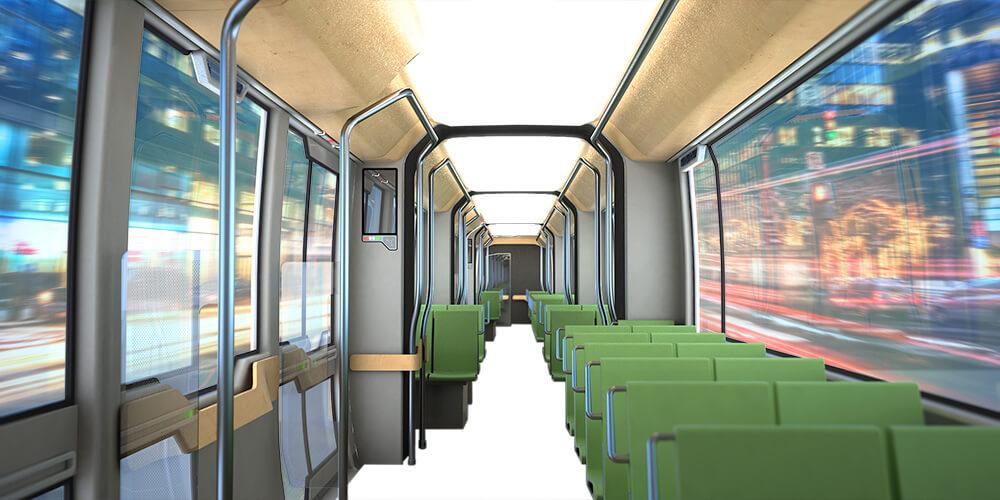Tram Interior, Study, Rendersketch, Innenraumkonzept Strassenbahn,
