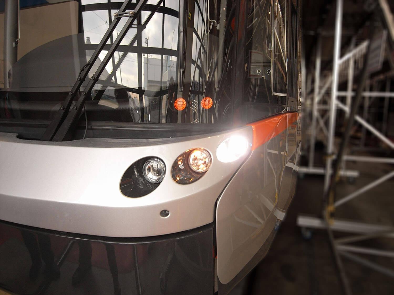 detail einer Strassenbahn in Produktion