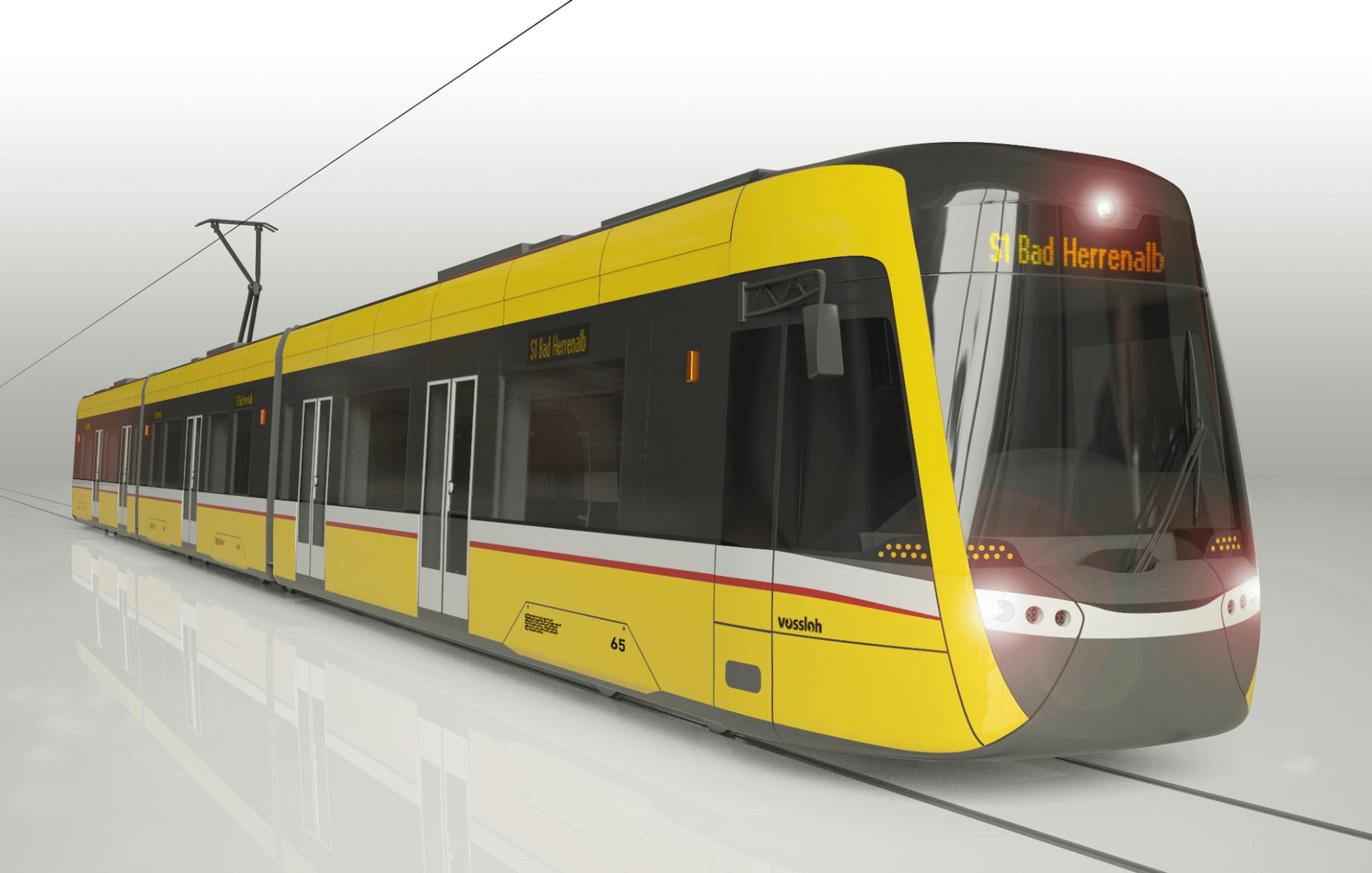 modern tram study, yellow with white backround