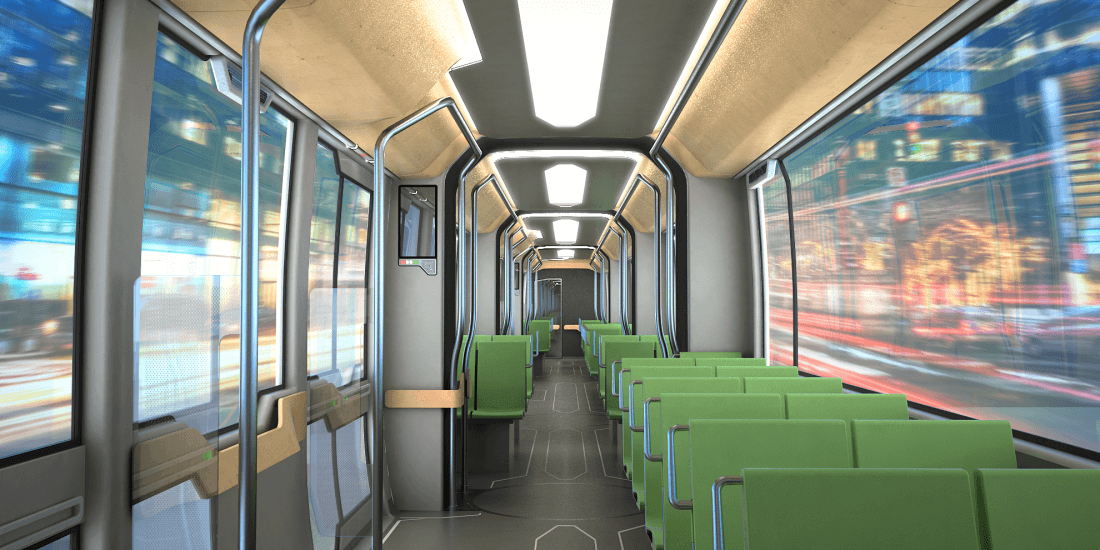 interior rendering of a modern tram system, green seats, wooden ceiling