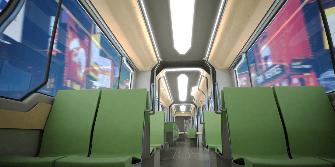 Industrial Design, Transportation Design, interior rendering of a modern tram system, green seats, wooden ceiling