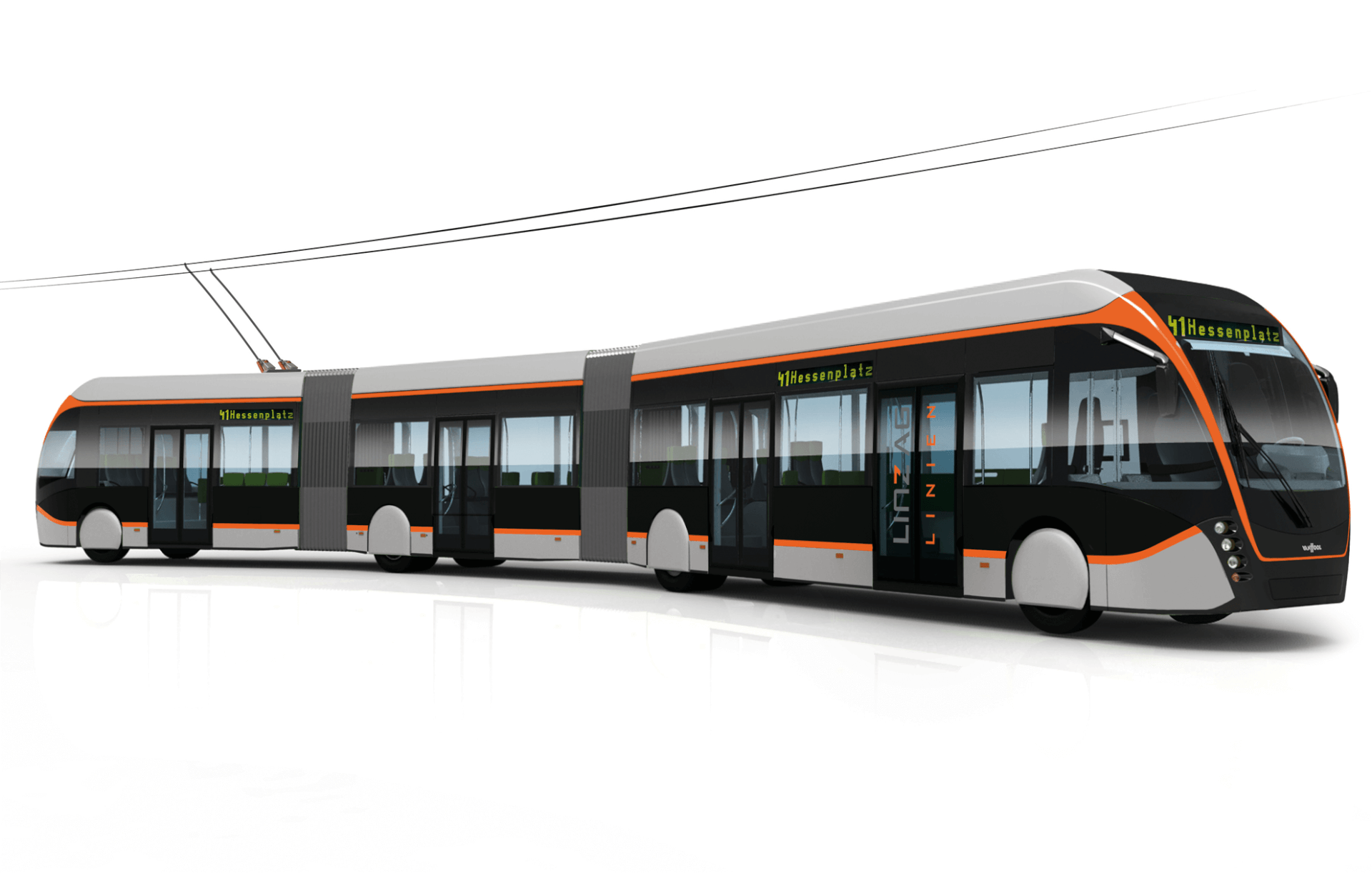 rendering of a modern e-bus, big carrier