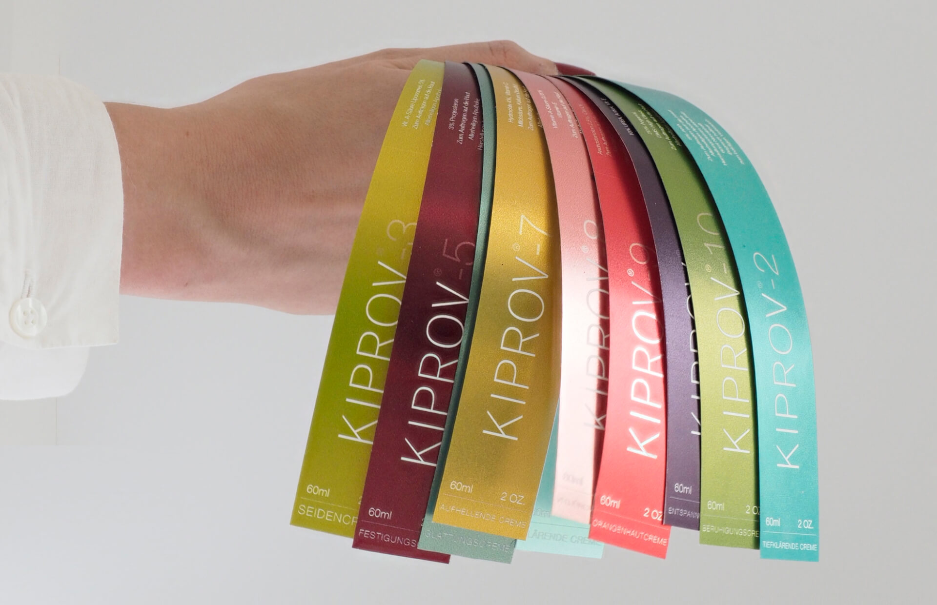 modern packaging for kiprov cosmetics, labels