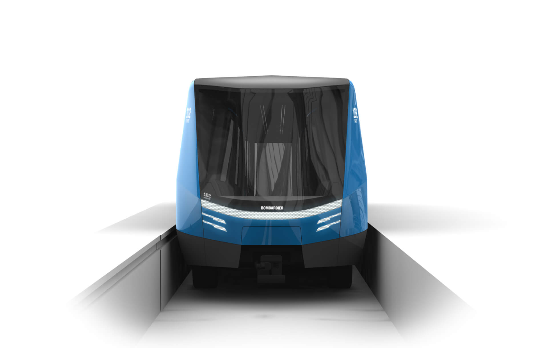 Industrial Design, Transportation Design, Rendering of a modern automated train system
