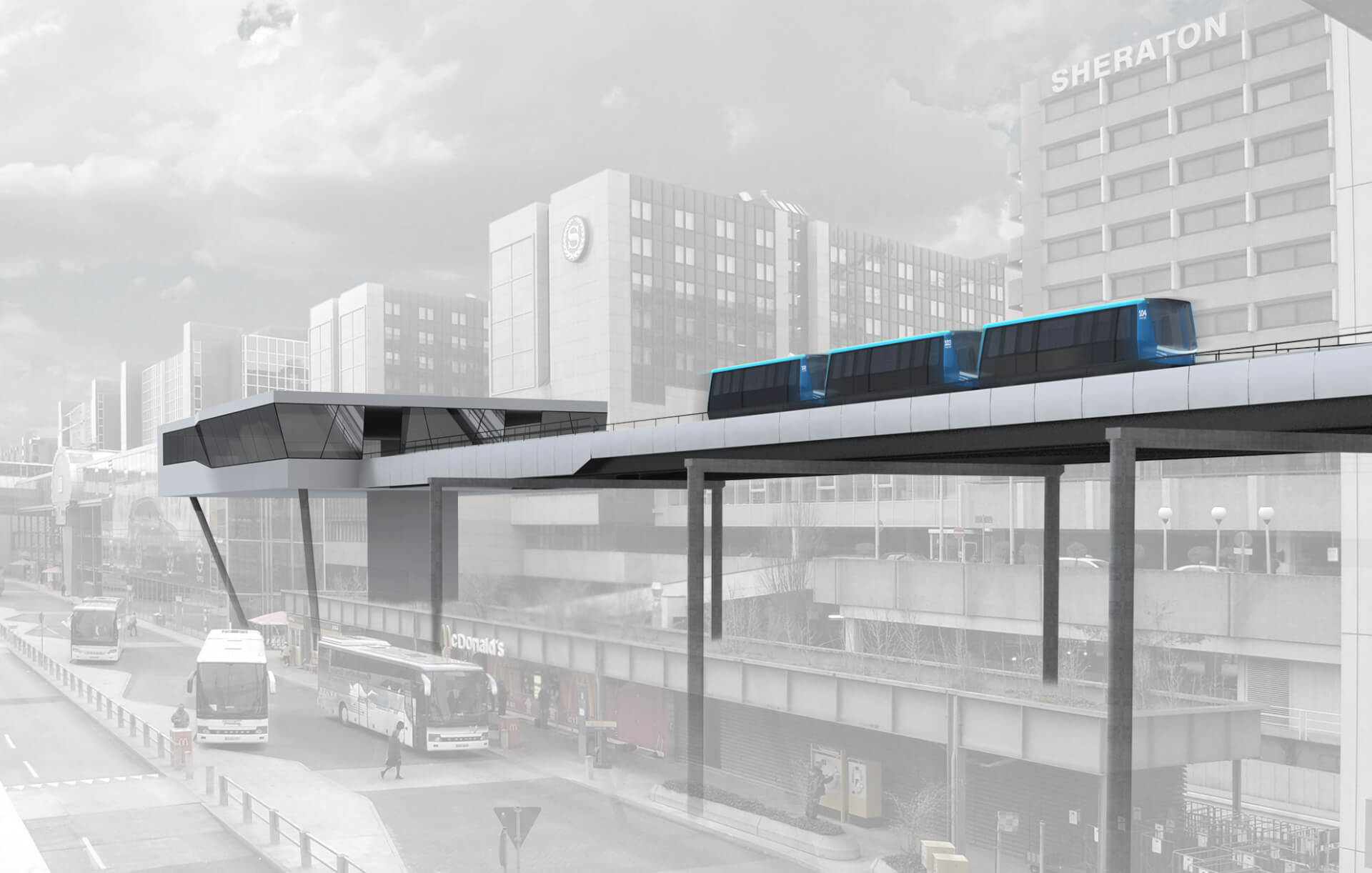 Rendering of a modern automated train system