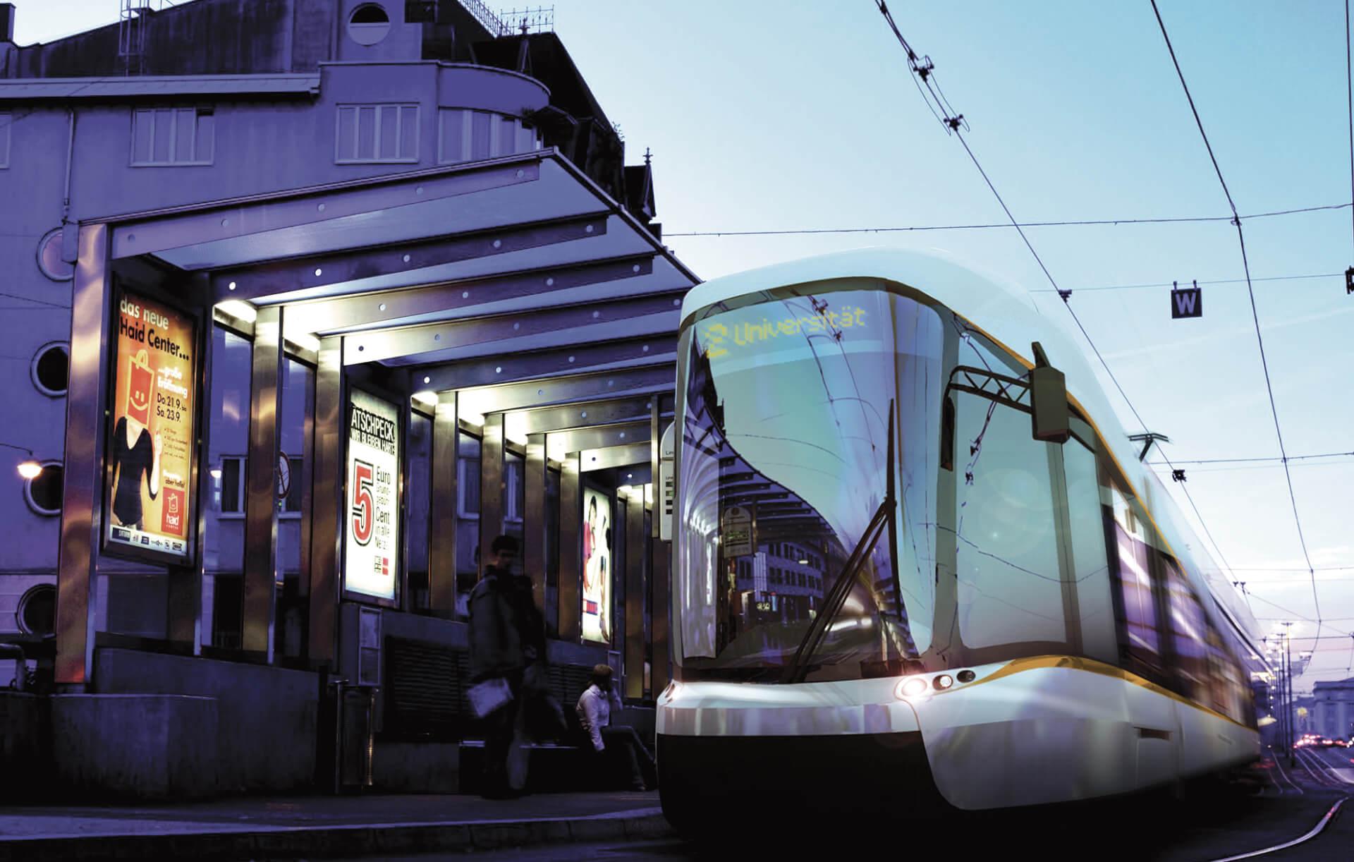 modern tram rendering in evening light