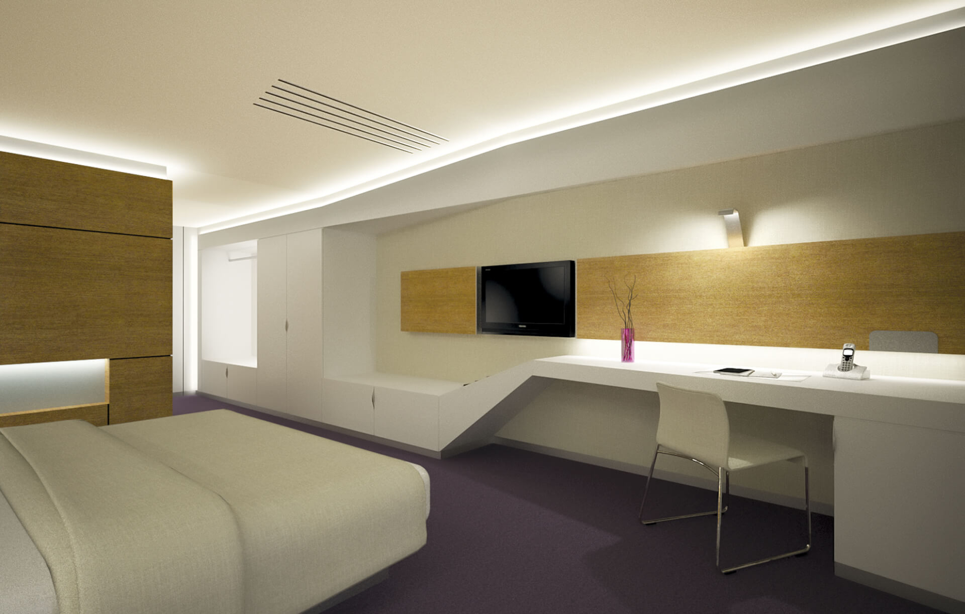 modern interior for hotel room, white furniture