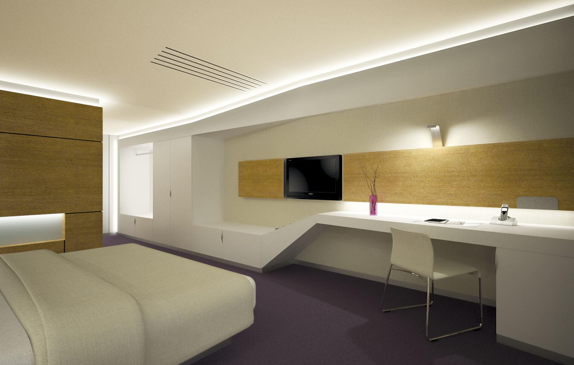 modern interior for hotel room, white furniture