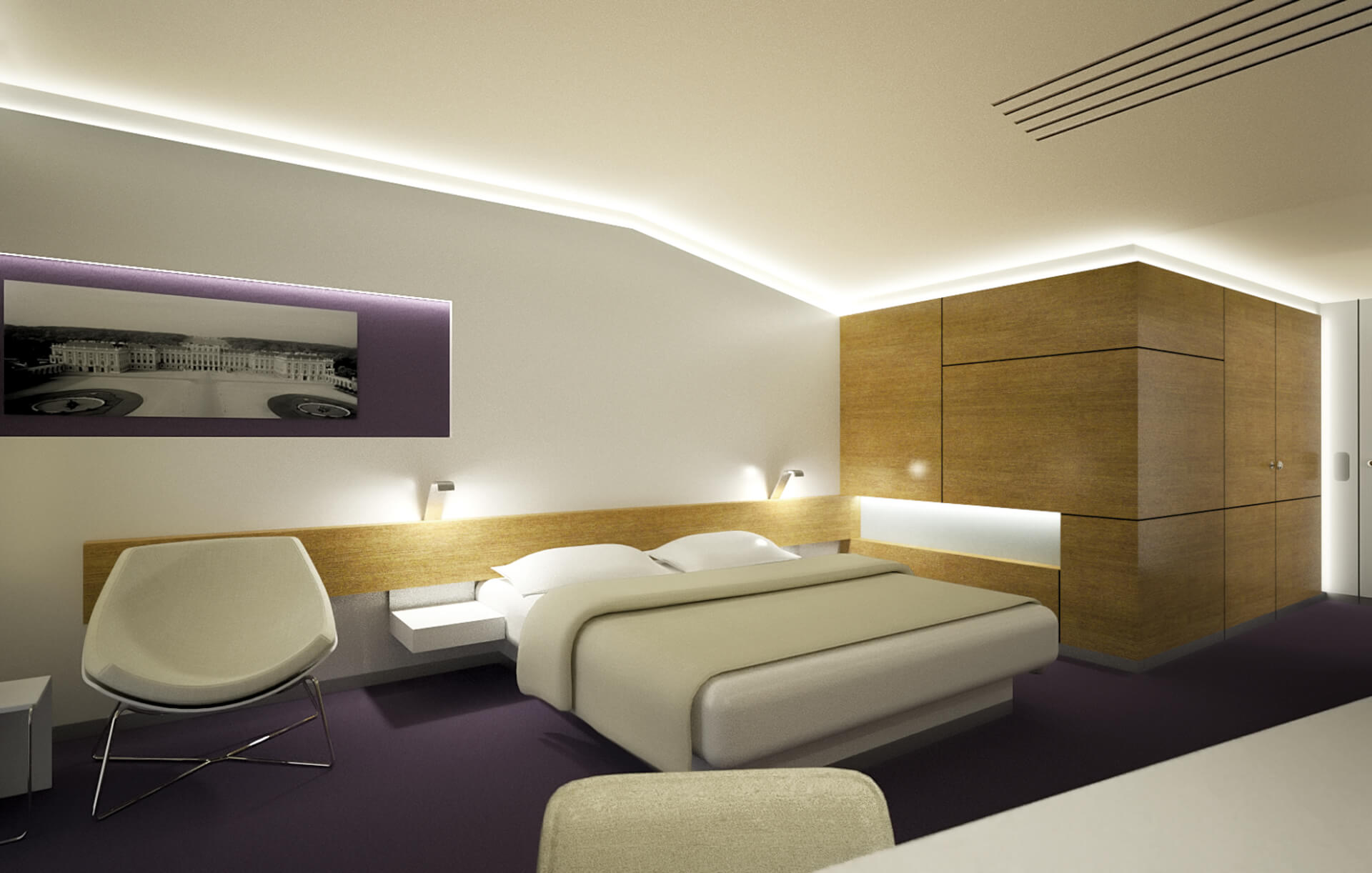 modern interior for hotel room, view to bed, wooden furniture
