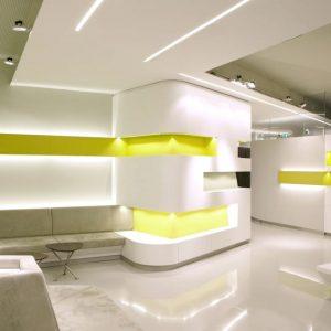 modern medical centre, white, glossy flooring