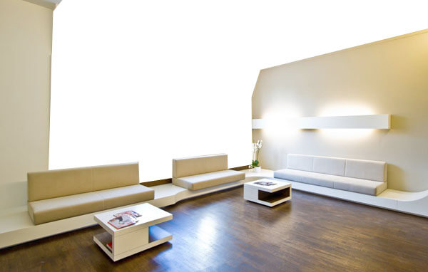 modern waiting area, wood, white walls