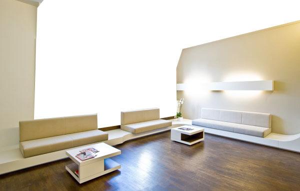 modern waiting area, wood, white walls