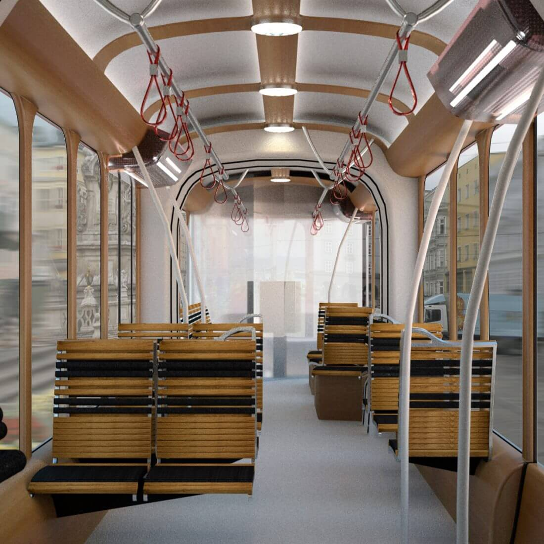 Industrial Design & Transportation Design - Döllmann Design + Architektur, Pöstlingbergbahn Linz, Industrial Design, Transportation Design, interior of a modern tram in retro design