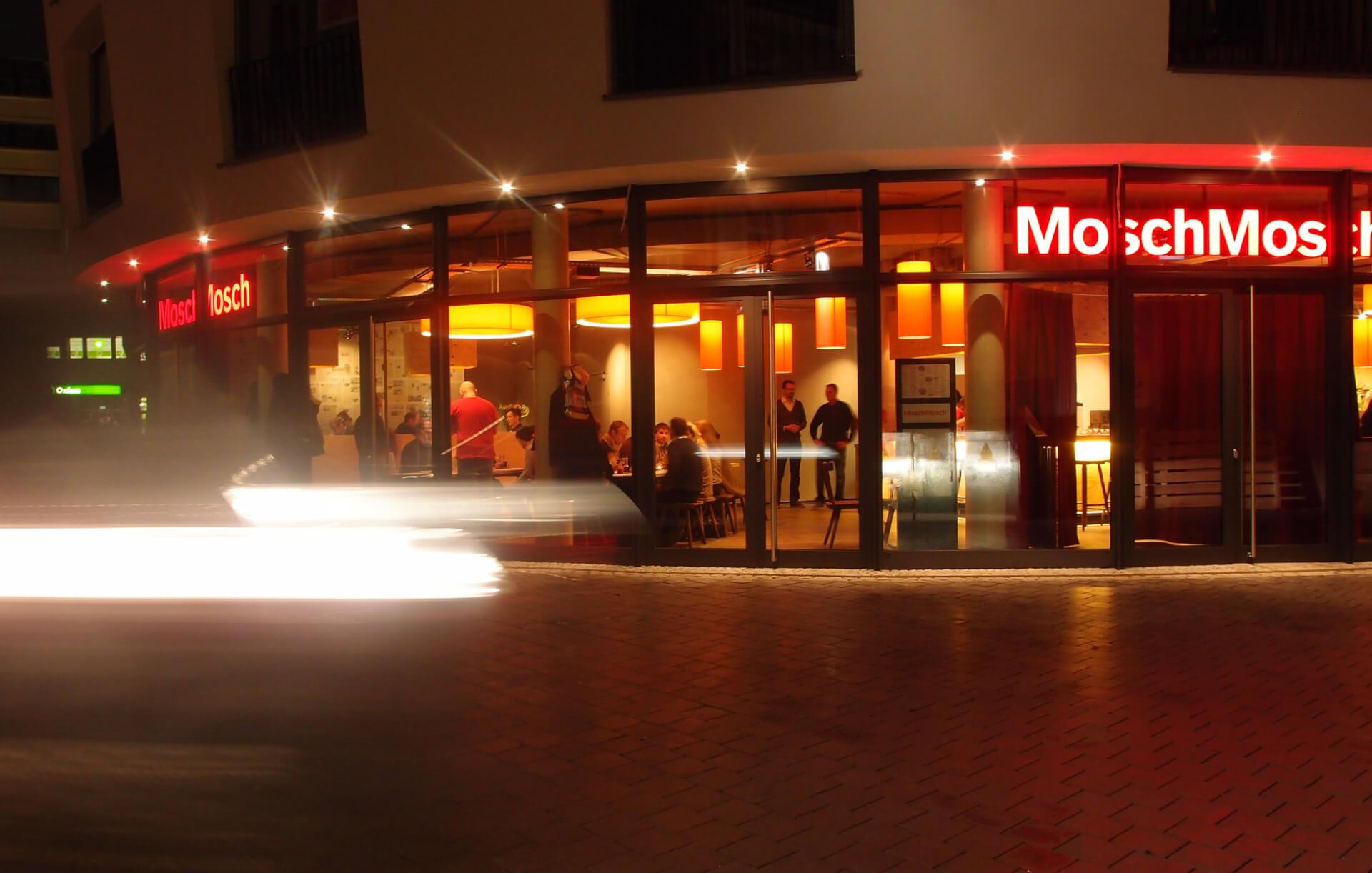 modern restaurant, view from street