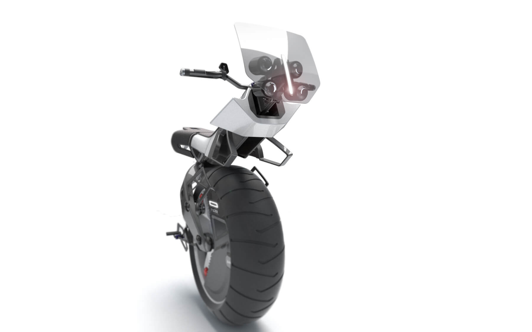 a monobike, white, with a single wheel, side view
