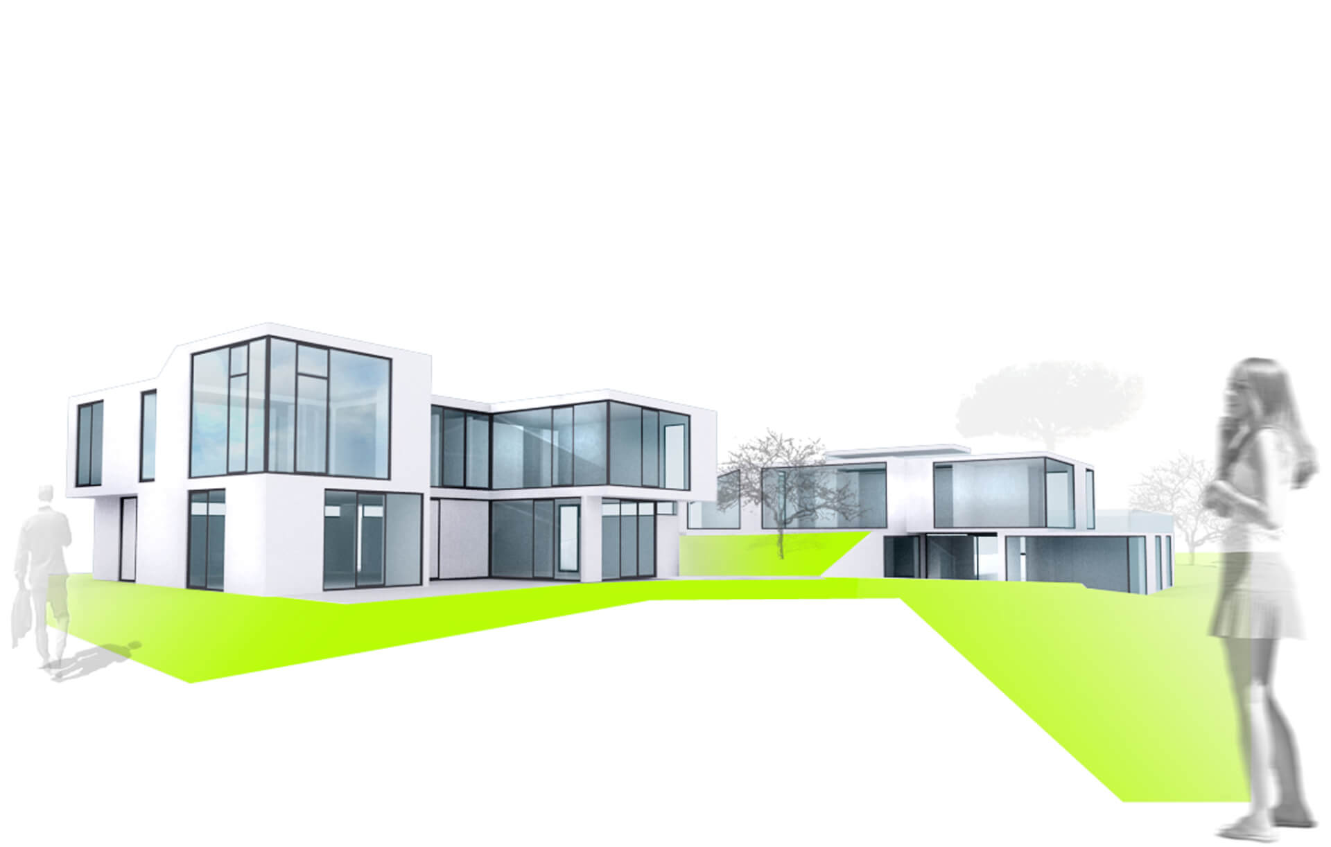 Appartmenthouse rendering white on white