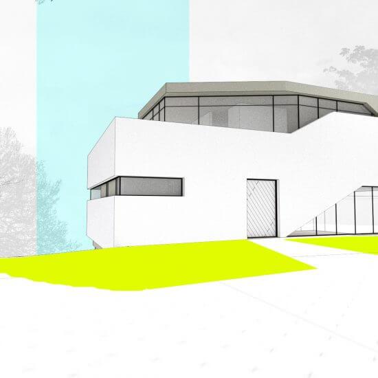 Architekturbüro Wien, Sketchrendering einer modernen Villa, weiss, grün, Corbusier