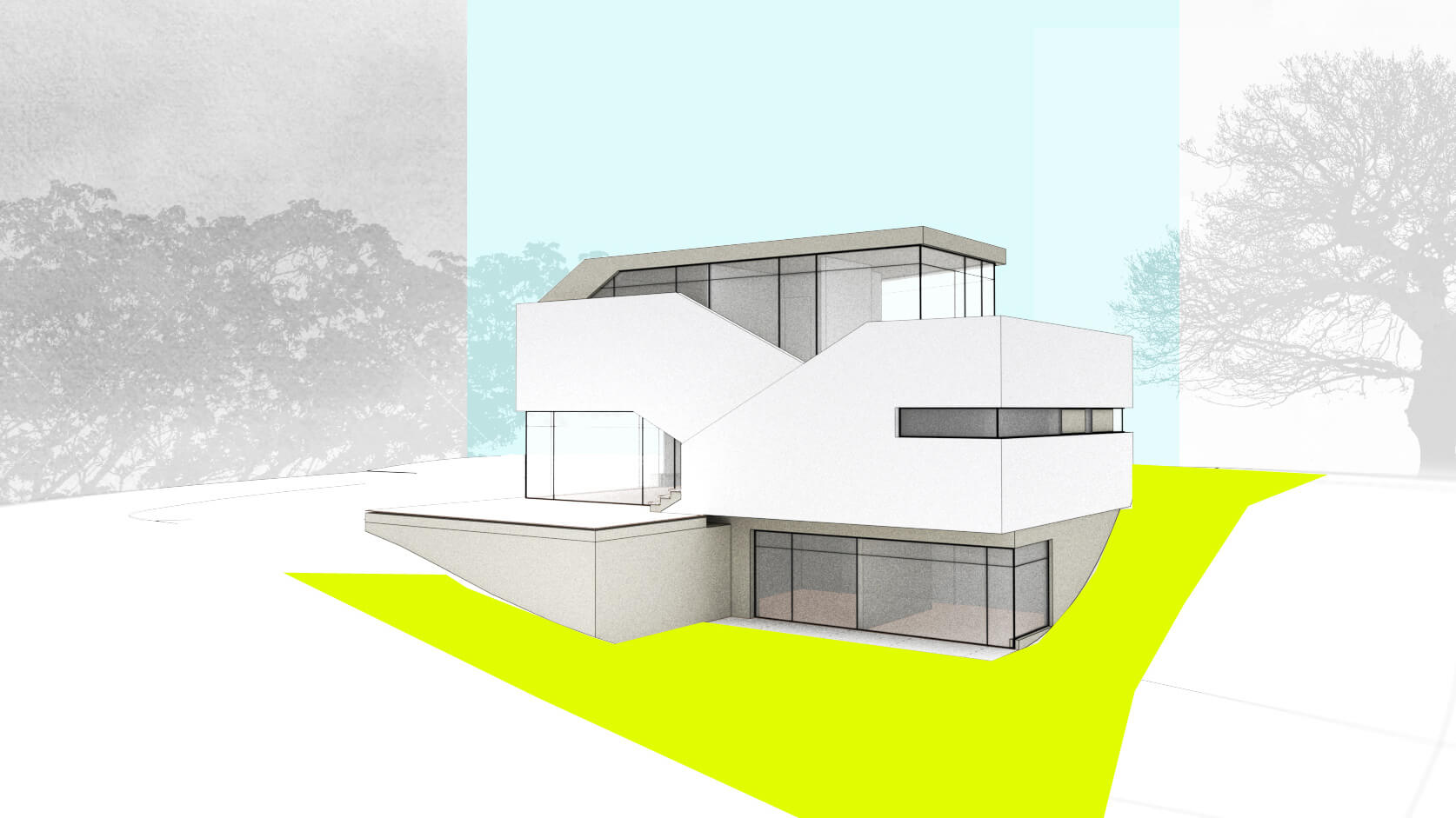 Sketchrendering einer modernen Villa, weiss, grün, Corbusier