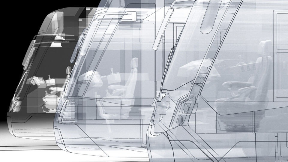 abstract technical tram rendering