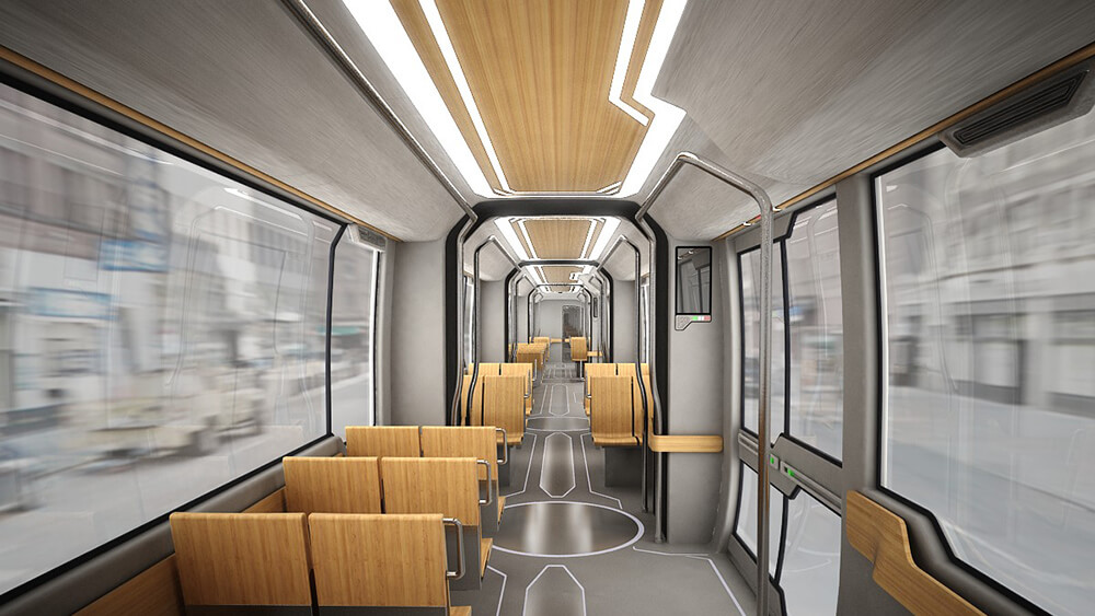 Innovation Tram by Doellmann Design, Tram with wood interior