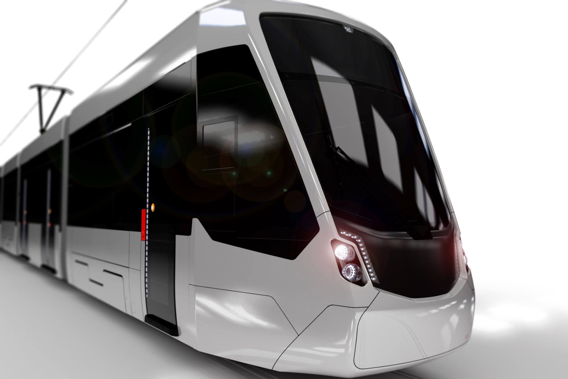 Tram Design Study, white rendering, detail, modern tram
