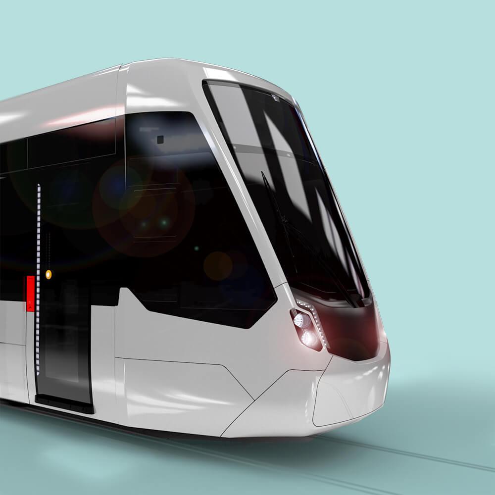 Tram Design Study, white rendering, modern tram