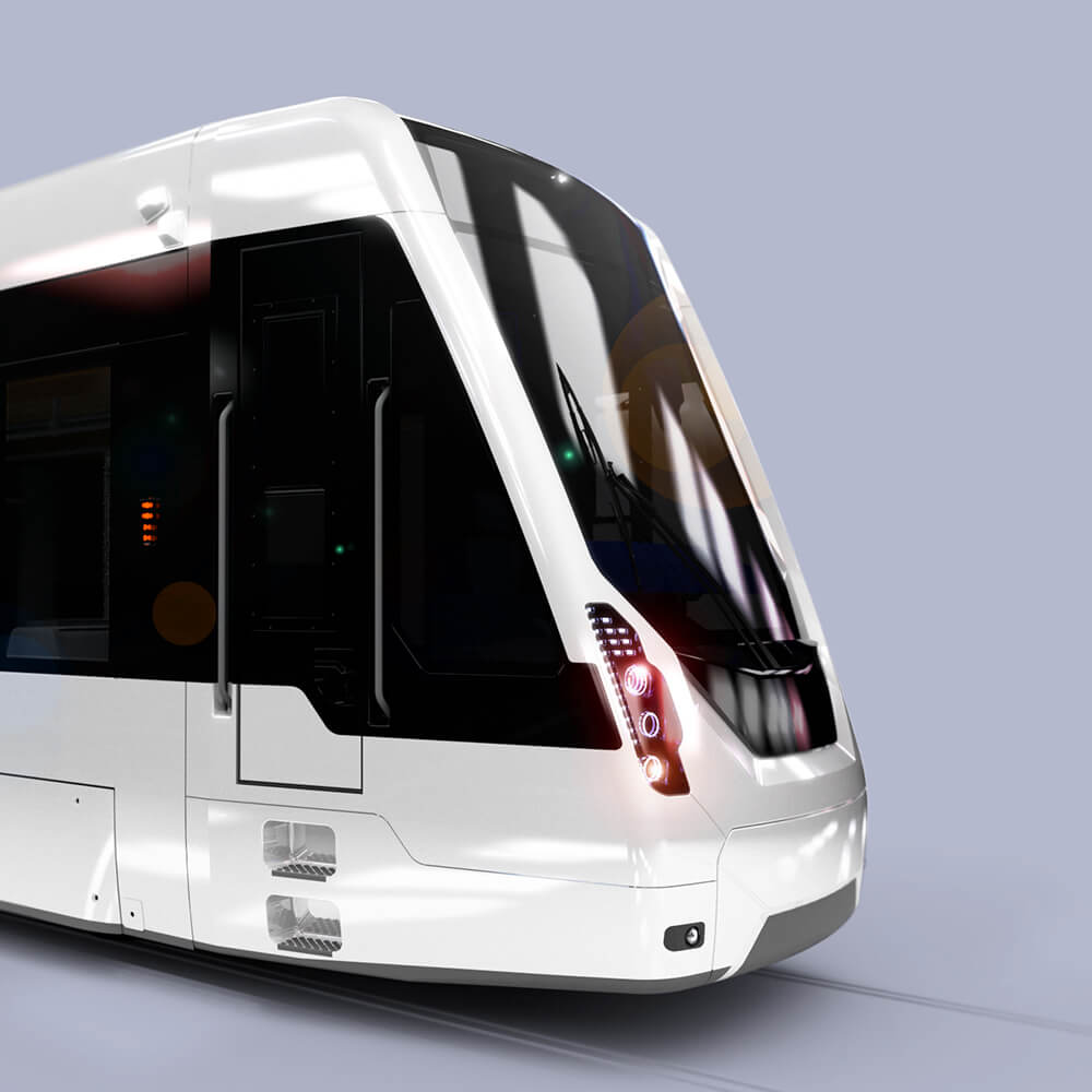 Designstudien für Verkehrsbetriebe, Design Detail of a SRT Tram, sketch rendering, white, head of a tram