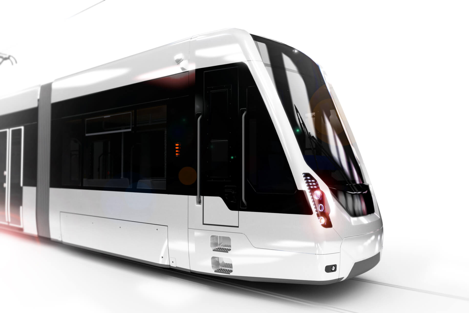 Detail of a SRT Tram, rendering, white