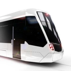 Tramlink Erfurt, Tram Design Study, white rendering, detail, modern tram
