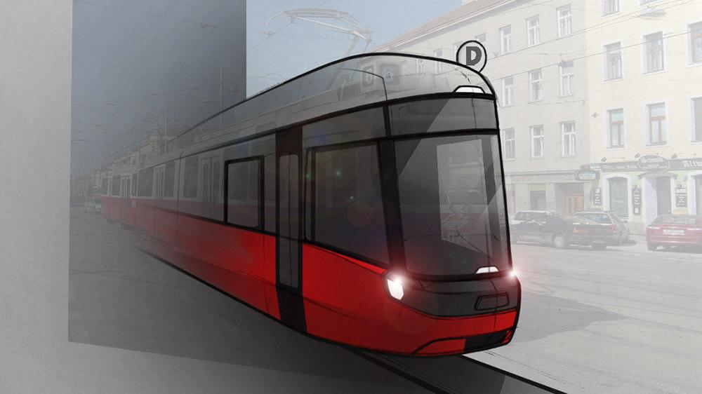 Bombardier Flexity Wien, Rendersketch, Skizze,