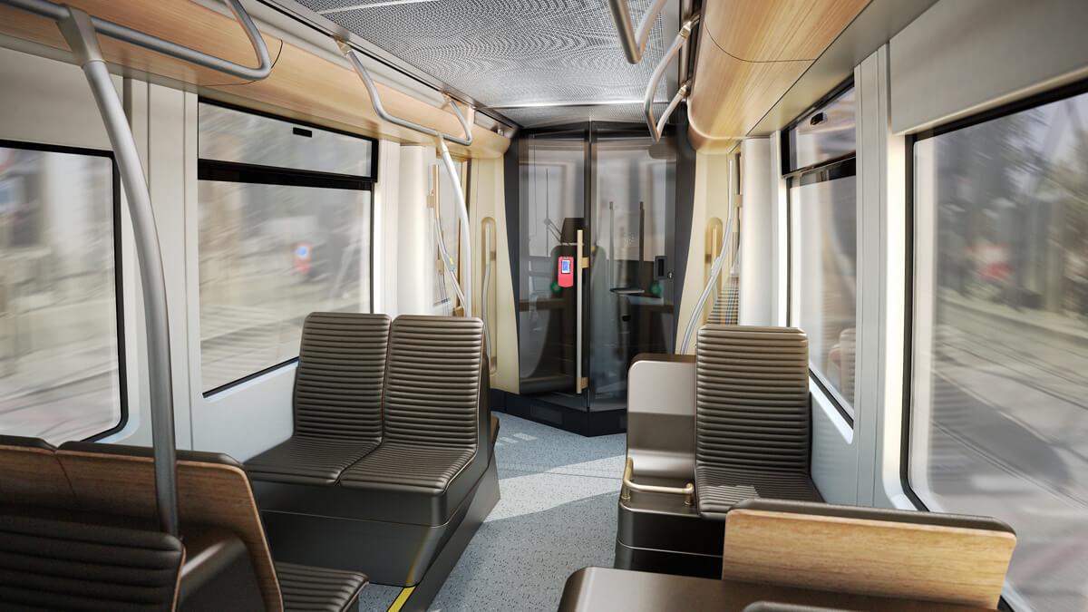 Bombardier Flexity Brussels, Rendering, Tram Interior, Strassenbahn Brüssel Innenraum